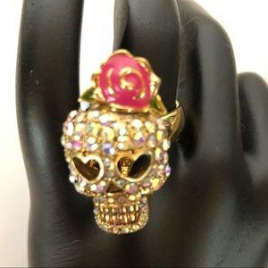 Retired Fab Betsey Johnson Crystal Skull Ring!!